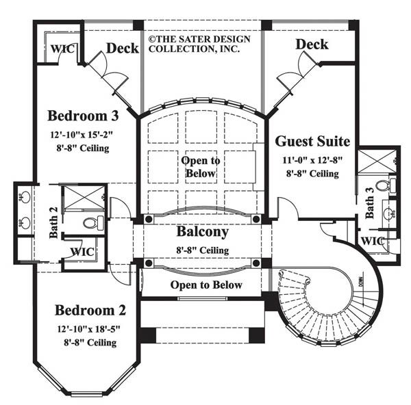 House plans with circular staircase central semi for Curved staircase floor plans