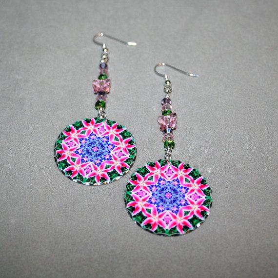 Lily Earrings Dangle Silver Boho Mandala New Age by melbecreations