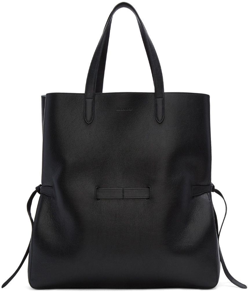 JIL SANDER Black Large Lace Shopper Tote. #jilsander #bags #hand bags #lace #suede #tote #lining #