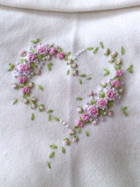 Delicate Sweetly Stitched Heart Sewing Embroidery