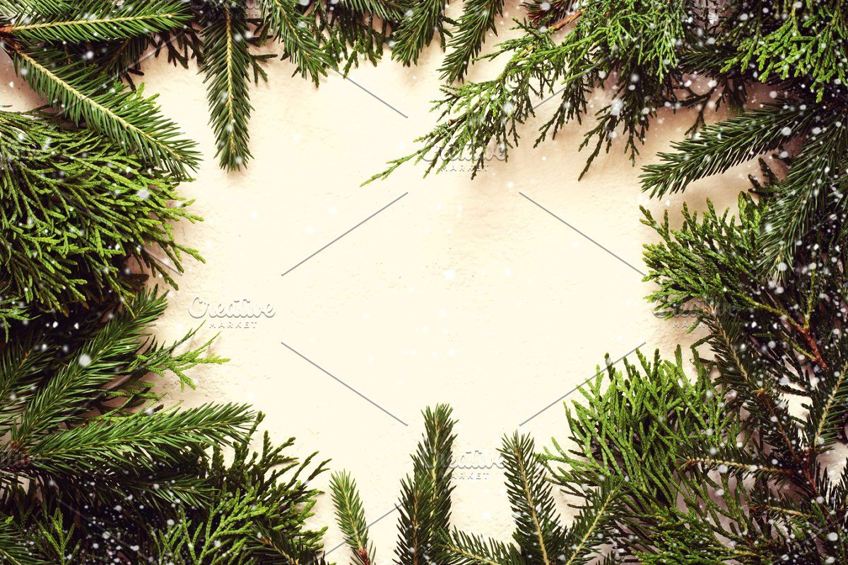 Christmas Tree Branch With Decorations On White Wooden Background In 2020 Christmas Tree Branches Tree Branches Wooden Background