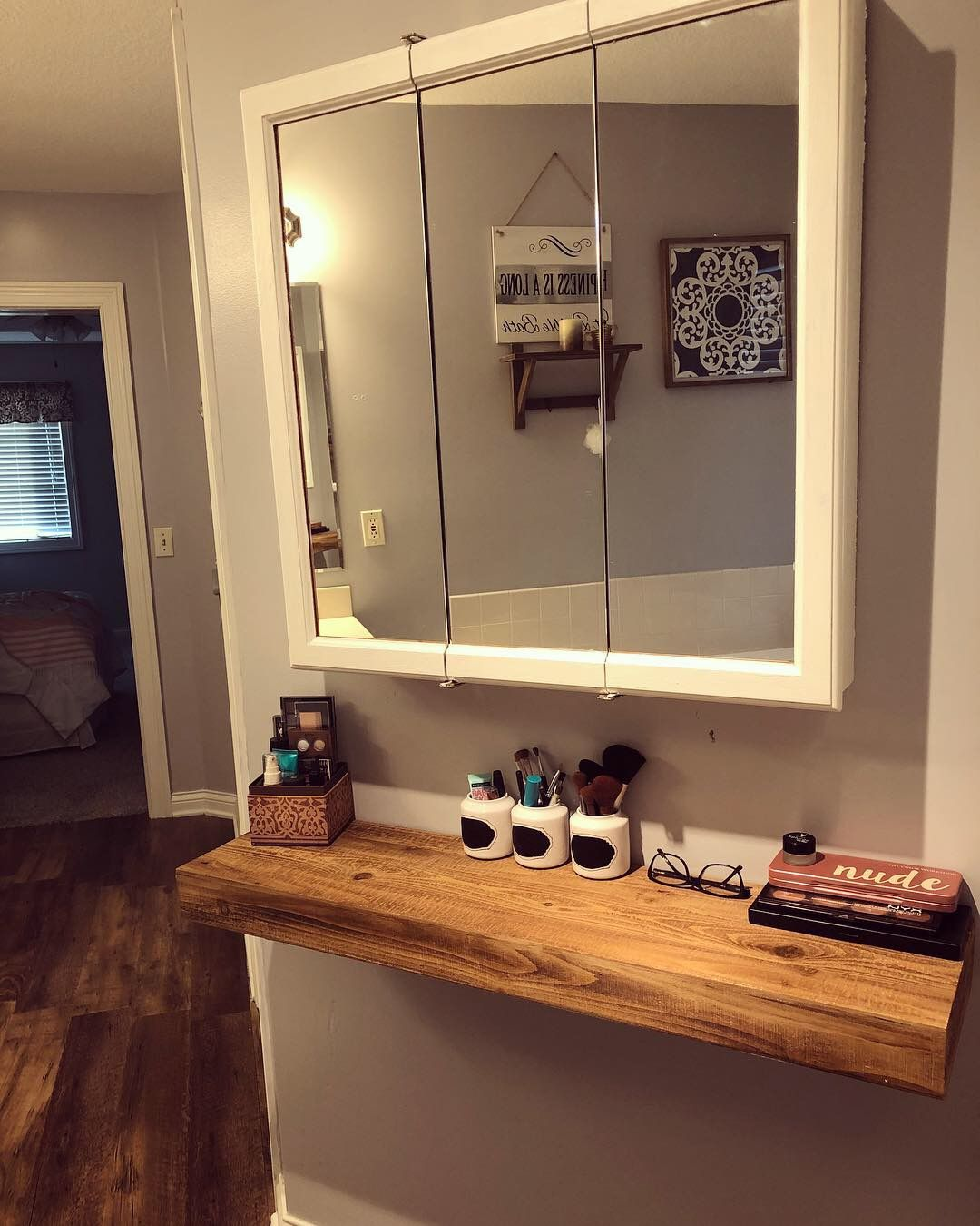 Wall vanity shelf with mirror painted with so much