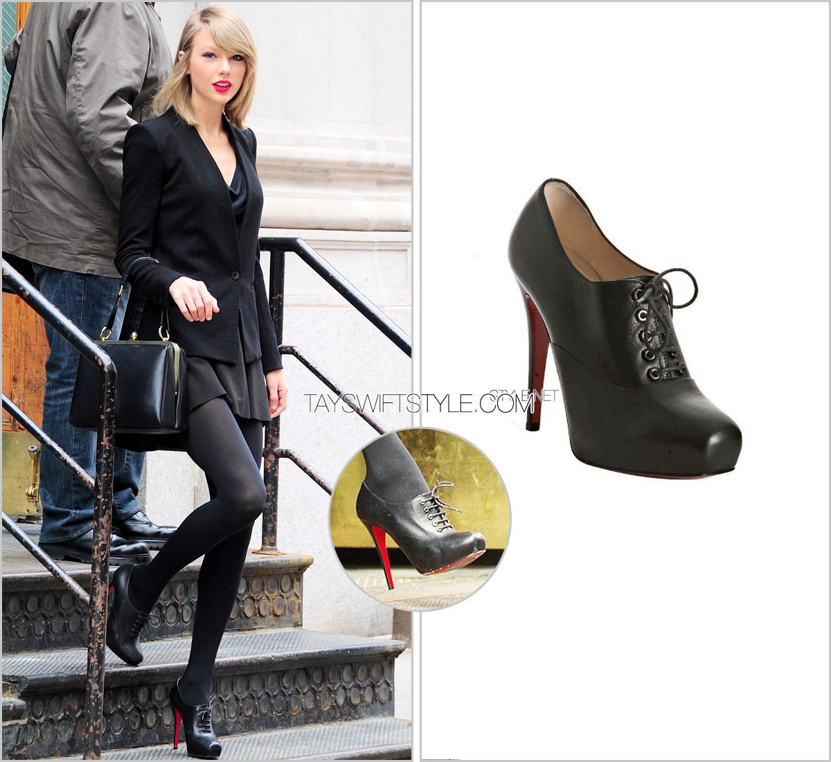 Leaving her apartment | April 17, 2014 | New York City, NY Christian Louboutin 'Mamanouk Lace Up Booties' - no longer available Worn with: Helmut Lang blazer and Dolce & Gabbana bag Check out all the times Taylor has worn these booties here.