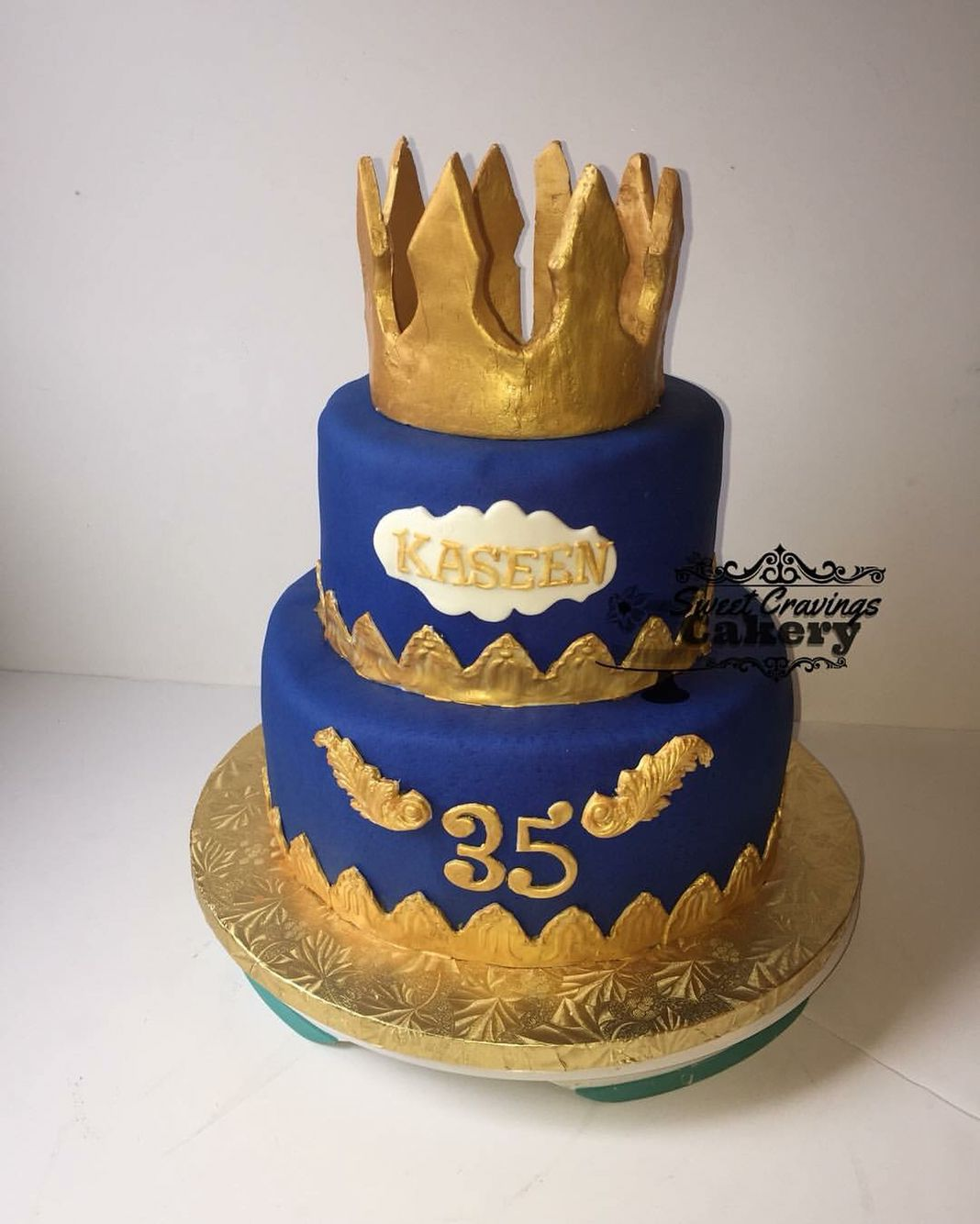 Cake For A King Royal Blue And Gold Birthday Cake With Images