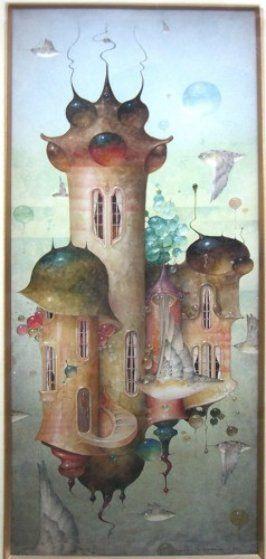 Spiral Assent Watercolor 1997 40x24 @ $0 by Daniel Merriam