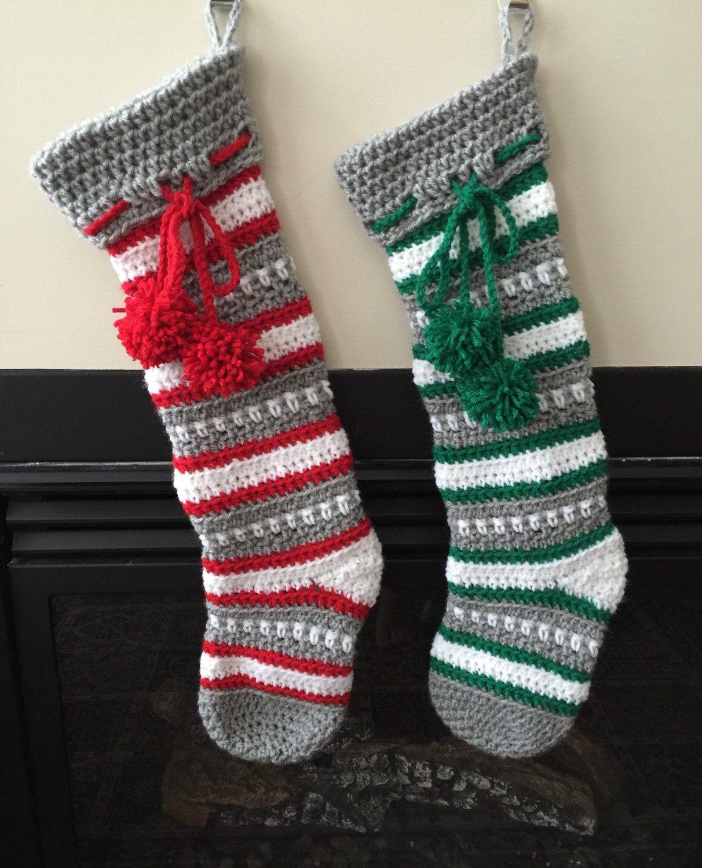 Nordic Christmas Stocking, Crochet Nordic Sock, Unique Crochet ...