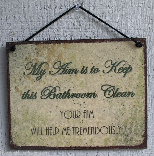 New My Aim Keep Bathroom Clean Restroom House Quote Saying Wood Sign Wall Decor Male Room