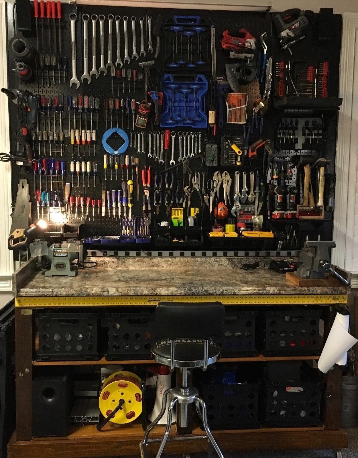 Wall Control 30 Wrk 400 Gbu Pegboard Organizer 4 Metal Standard Tool Storage Kit With Gray Tool Board And Blue Access Man Garage Man Cave Garage Garage Design