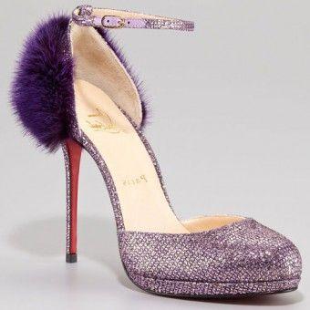 cheap Christian Louboutin Crazy Fur 120mm Glitter Pumps Purple