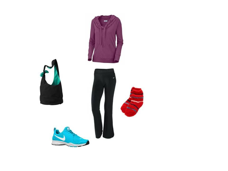 Realistic School outfit. Hoodie yoga pants fuzzy socks sneakers and a large bag.   Geek Chic ...
