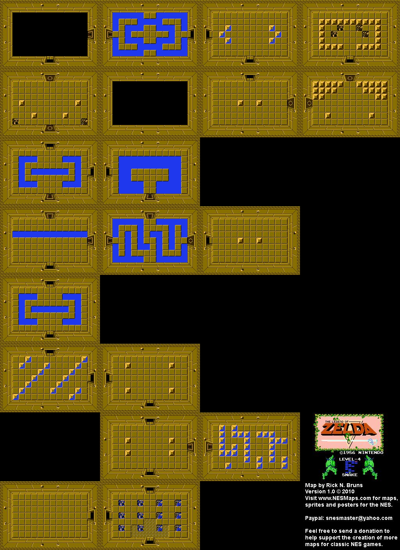 The Legend Of Zelda Level 4 Snake Nes Map Bg Zelda Map