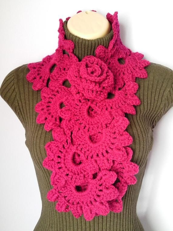 37bcd966a04 Crochet SCARF/ NECKWARMER with Crochet Flower Brooch women red bordo ...