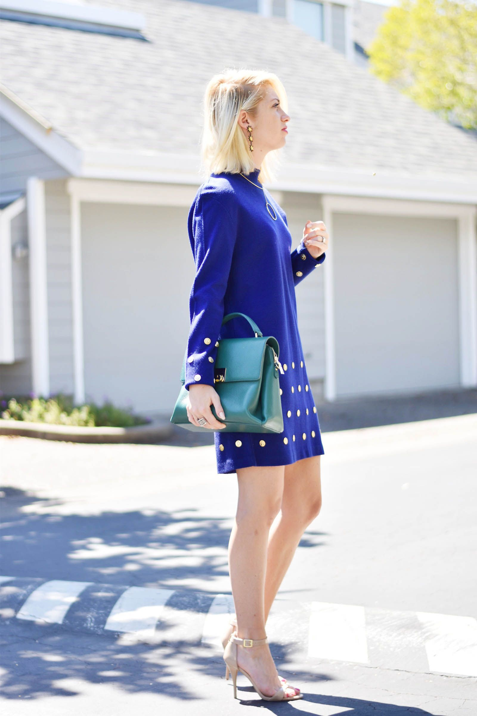 vintage shopping tips: pick your decade, vintage 80s any calico corner sweater dress, green top handle mon purse