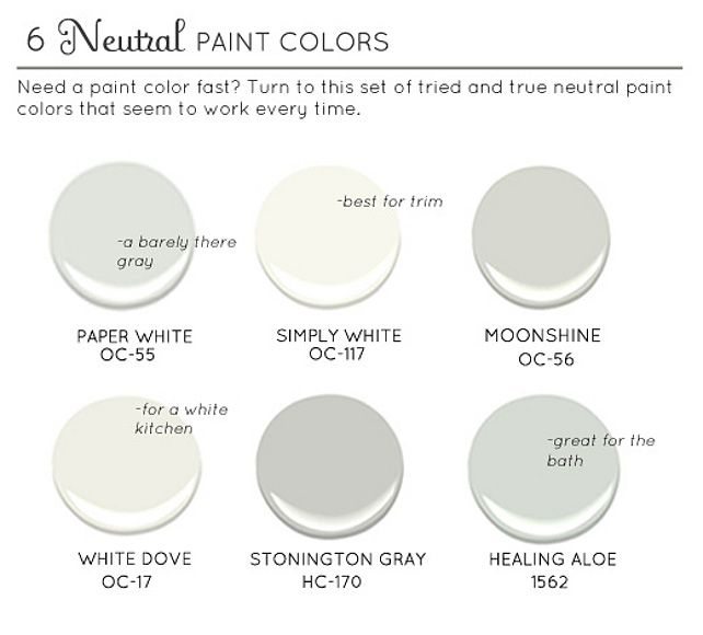 Neutral Paint Colors: Paper White OC-55 Benjamin Moore. Simply White OC-