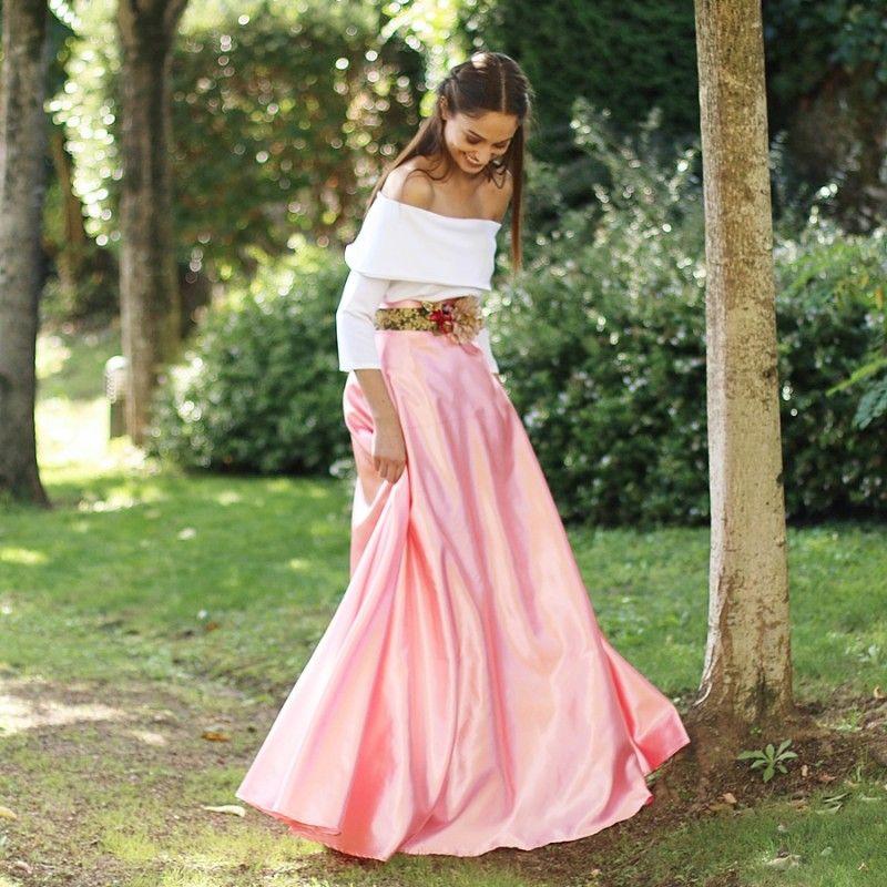 falda larga de raso rosa para bodas y eventos hecha a mano | Faldas ...