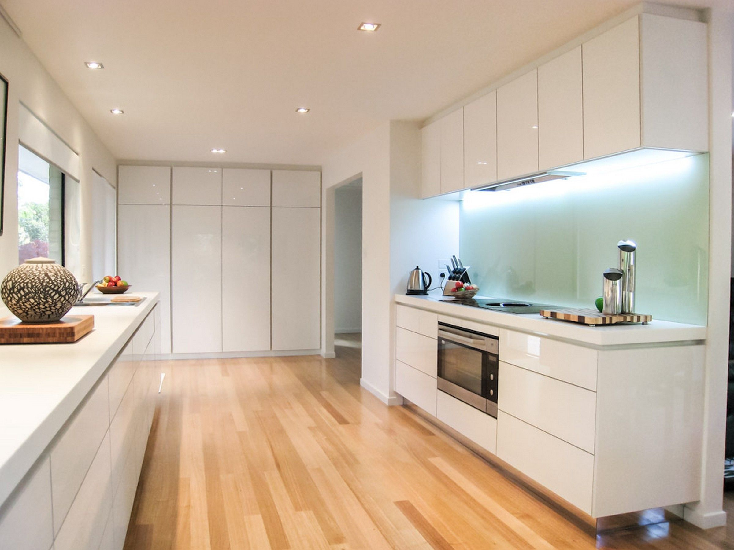 Modern White And Timber Floor Kitchens Google Search