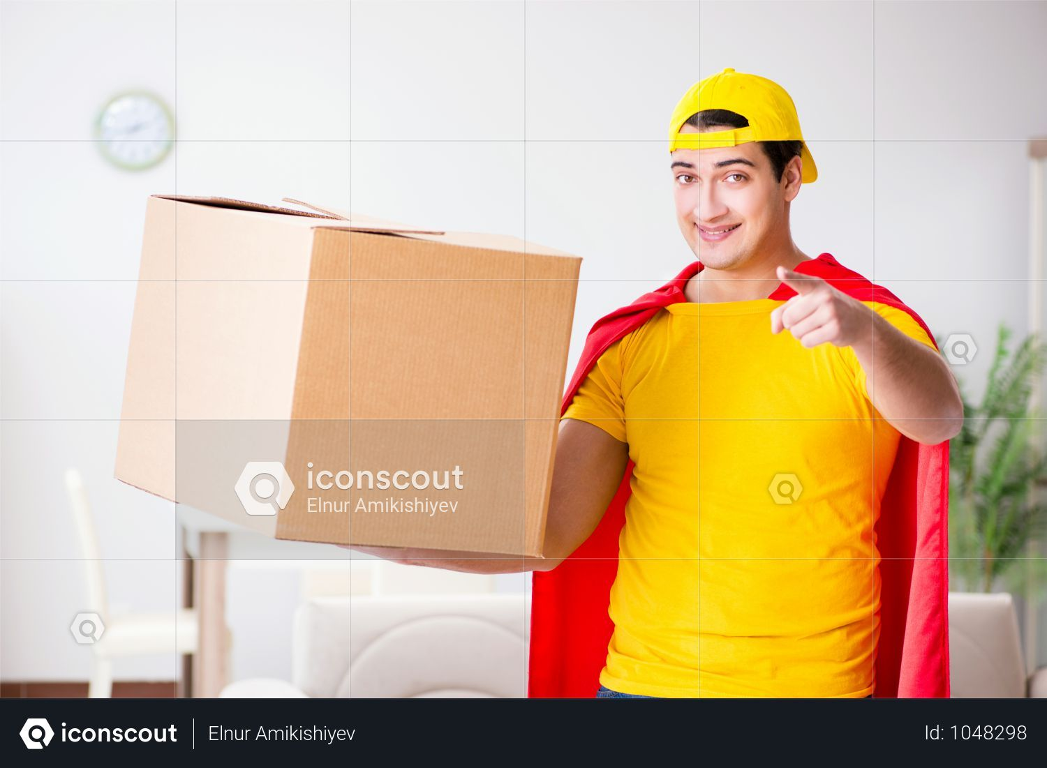 Superhero Delivery Guy With Box Photo Delivery Photos Pizza Delivery Guy Guys
