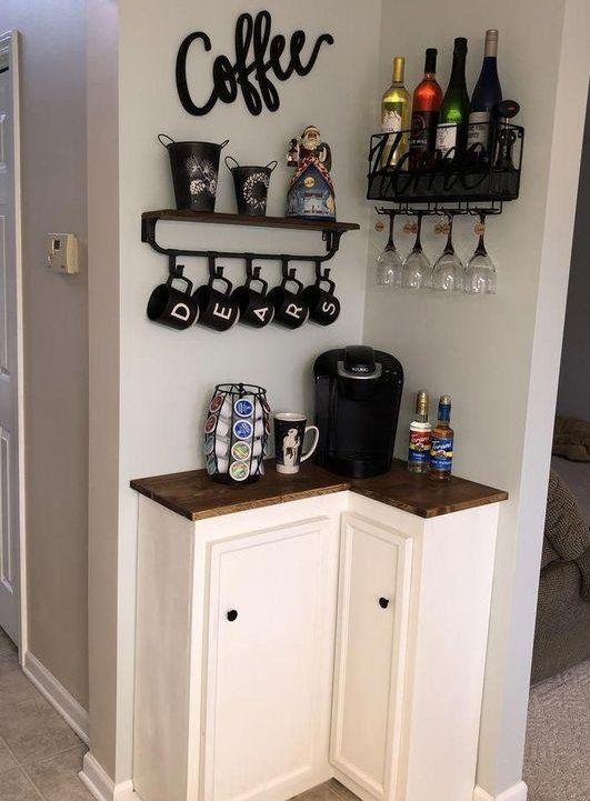 Tiny Space Corner Coffee Bar #coffeebar #coffeestation #decorhomeideas #kitchendecorideas
