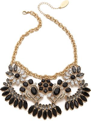 Adia Kibur Stone Statement Necklace - Black