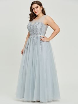 Cute Plus Size Scoop Neck Beading A Line Prom Dress - Cute Dresses 7