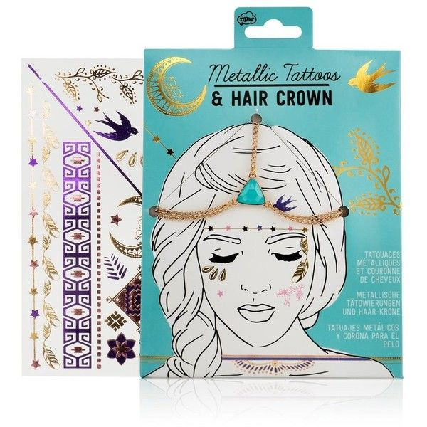 Npw Hair Crown And Tattoo Set ($13) ❤ liked on Polyvore featuring accessories and lipsy