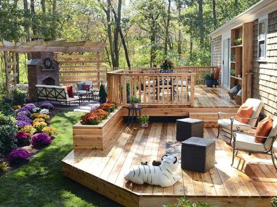 great use of backyard space. love the fireplace