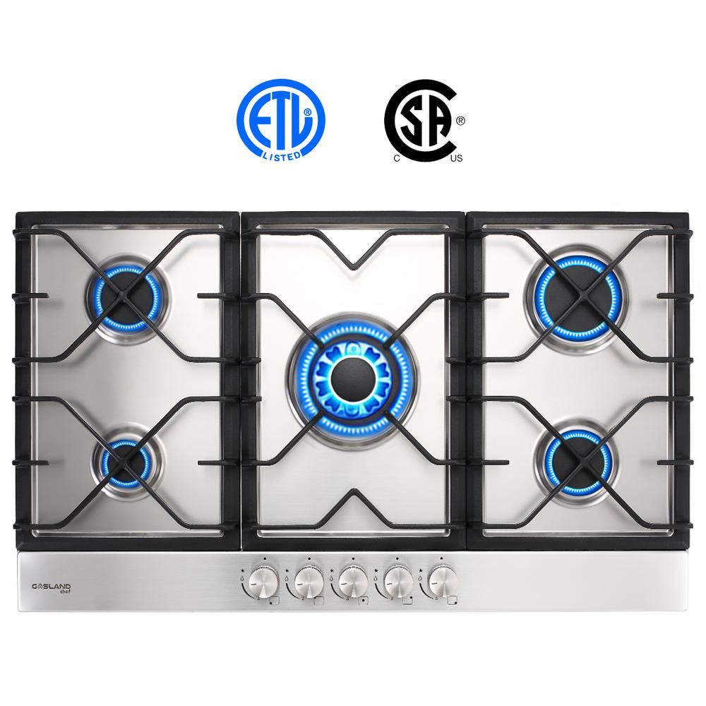 Gasland Chef 34 In Built In Gas Stove Top Lpg Natural Gas Cooktop In Stainless Steel 5 Sealed Burners Etl Gh90sf The Home Depot Gas Stove Top Gas Cooktop Gas Stove
