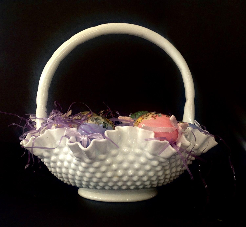 Vintage Fenton Hobnail Milk Glass Basket Large Hobnail Basket Easter Basket Hobnail Milk Glass Large Baskets Easter Baskets