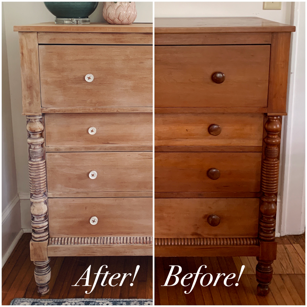 Photo of dresser makeover: whitewashed weathered look — House of Blooming