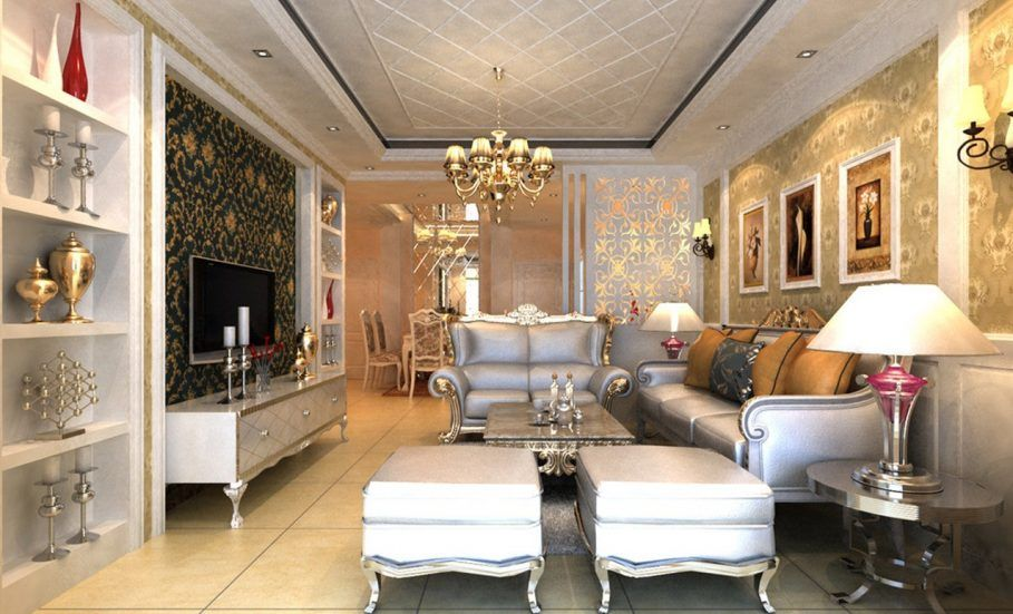 Nice Luxury White Living Room With Decorative Wall Art Paintings Also Round  Chandelier Design