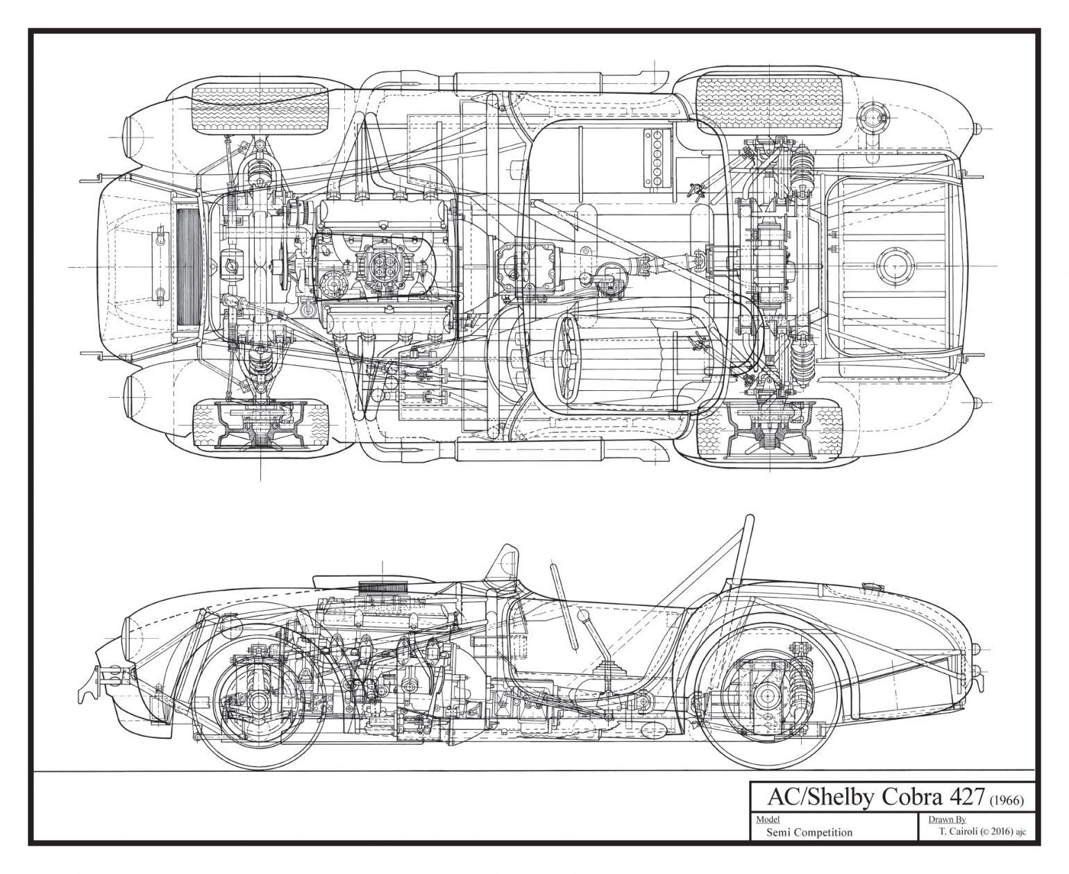 Tony Cairoli Has Completed His Shelby Cobra 427 Schematic All Hand Drawn