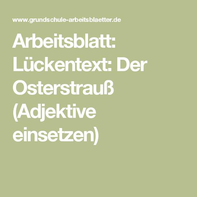 Arbeitsblatt: Lückentext: Der Osterstrauß (Adjektive einsetzen)