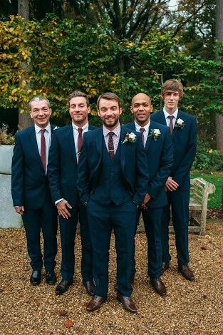 Groomsmen In Three Piece Navy Suits With Maroon Ties Image By Hannah May Autumnal Rustic Themed Wedding Gold Colour Scheme