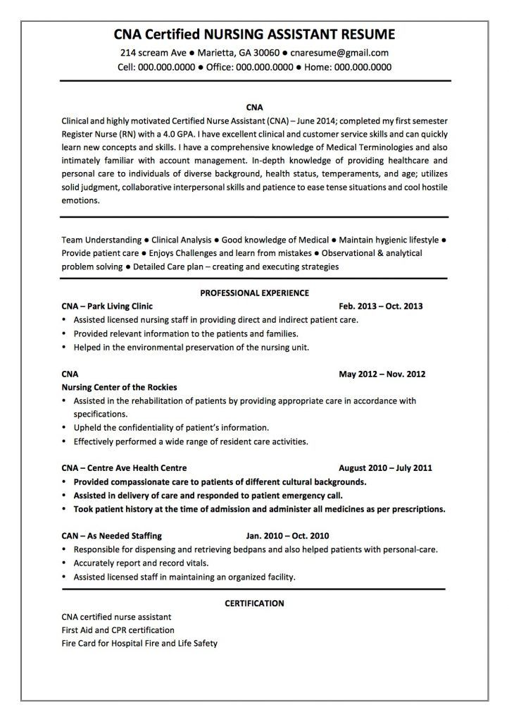 Certified Nursing Assistant Resume Template Certified Nursing Assistant Nursing Assistant Resume Examples