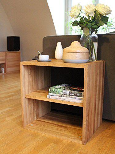 Cube de rangement avec étagère en bois de chêne massif huilé