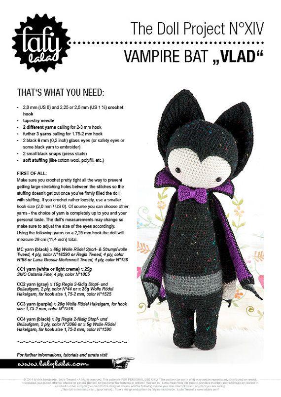 VLAD the vampire bat • lalylala crochet pattern / amigurumi ...
