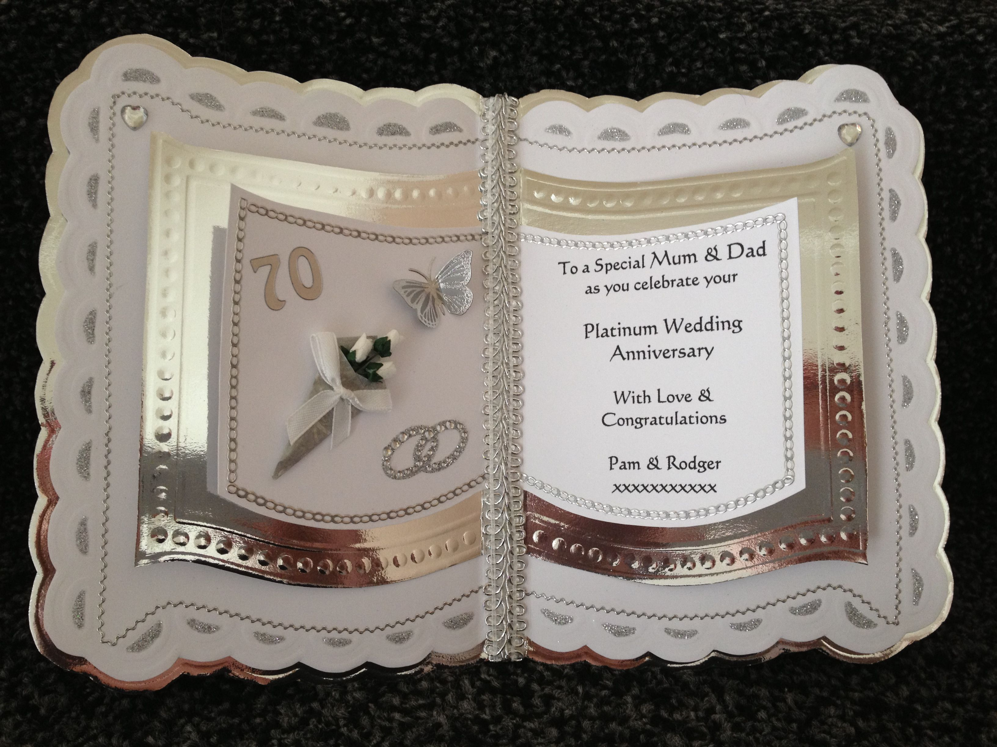 wedding anniversary card pictures%0A platinum anniversary card