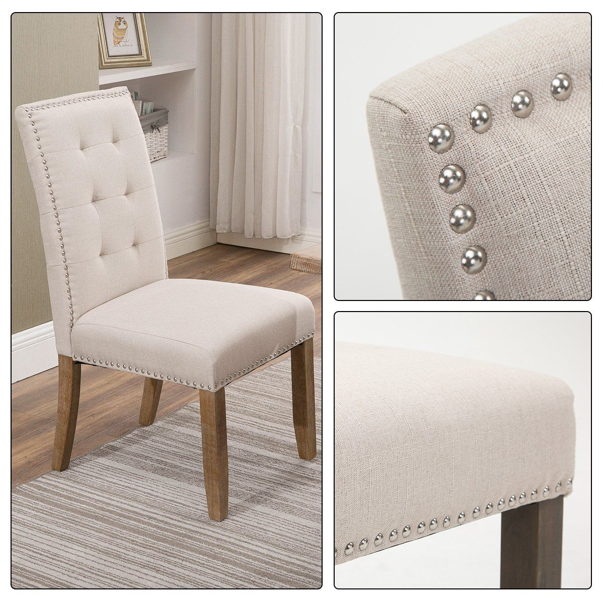 Tufted Dining Chairs With Nailhead Fabric Dining Chairs Dining Chairs Nailhead Chair