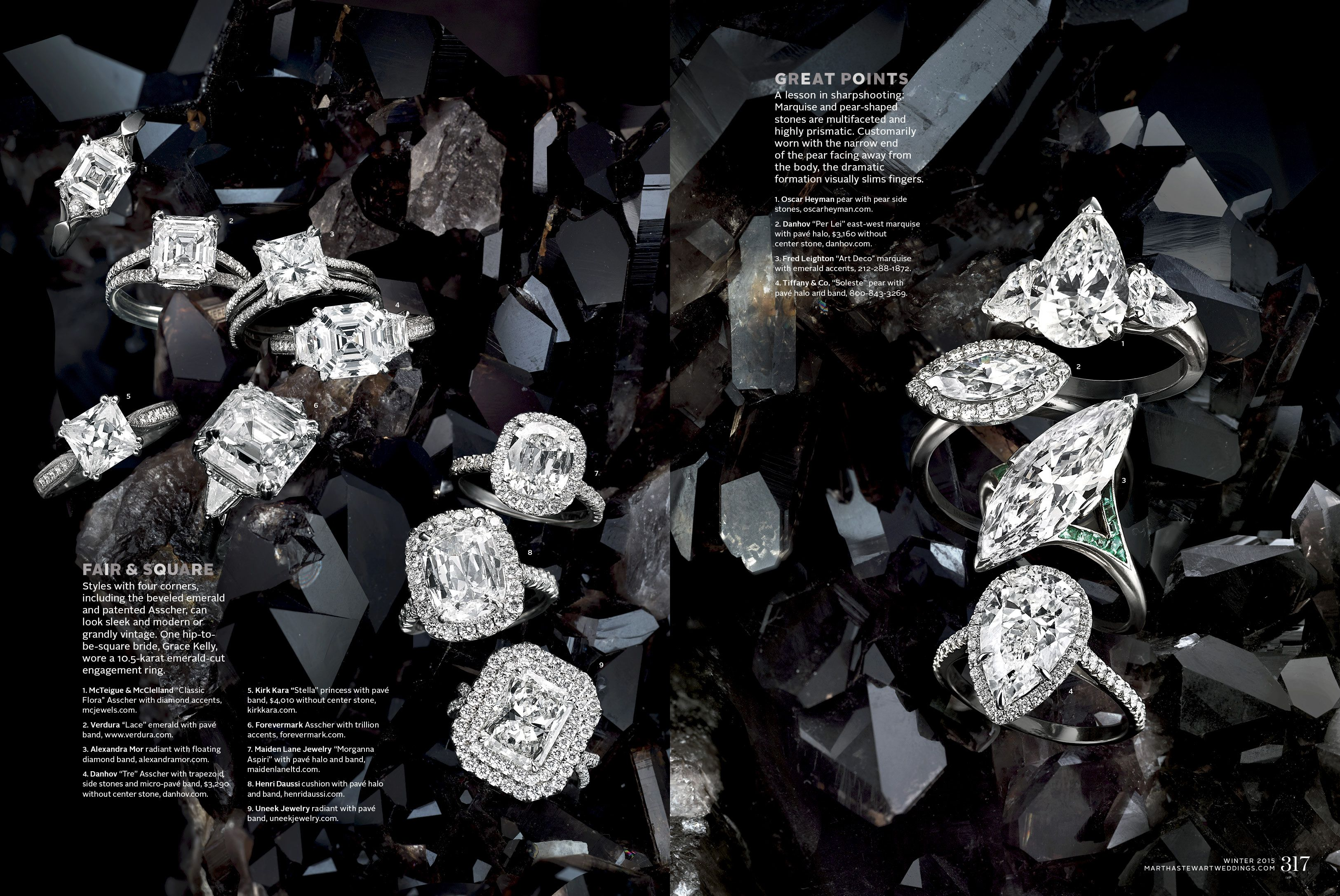 Per Lei with east-west marquise featured in 20th Anniversary issue of Martha Stewart Weddings magazine.