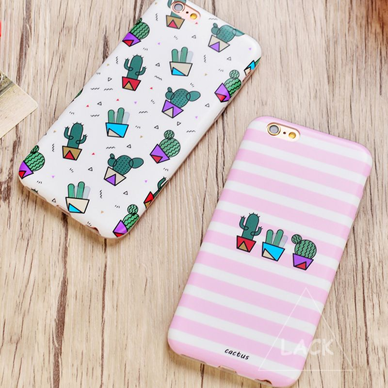Mode Zebra Streep Case Voor iphone 6 Case Voor iphone 6 S 6 Plus Telefoon Gevallen Luxe IMD Cover Leuke Planten Cactus Capa Coque
