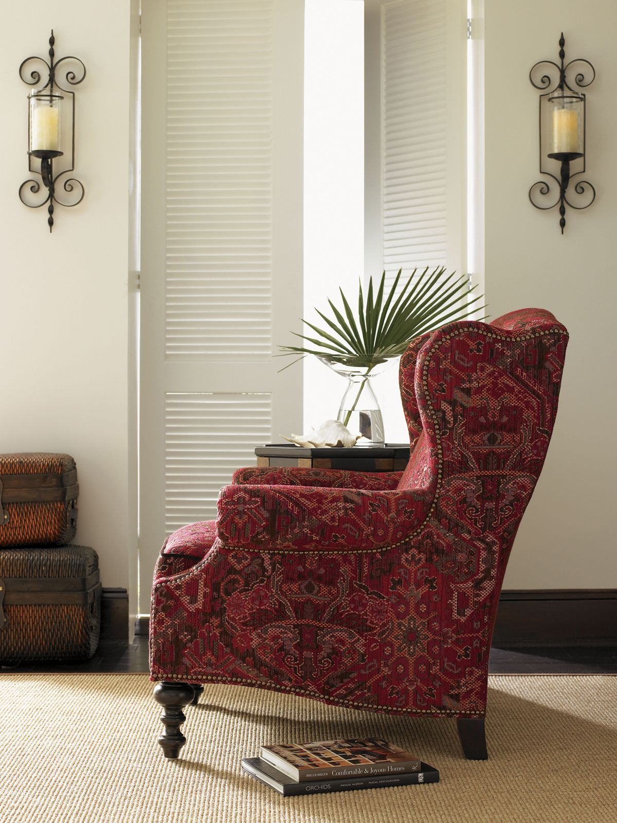Royal Kahala Batik Wing Chair From Lexington Home Brands #LHBDesign  #RedAccentChair