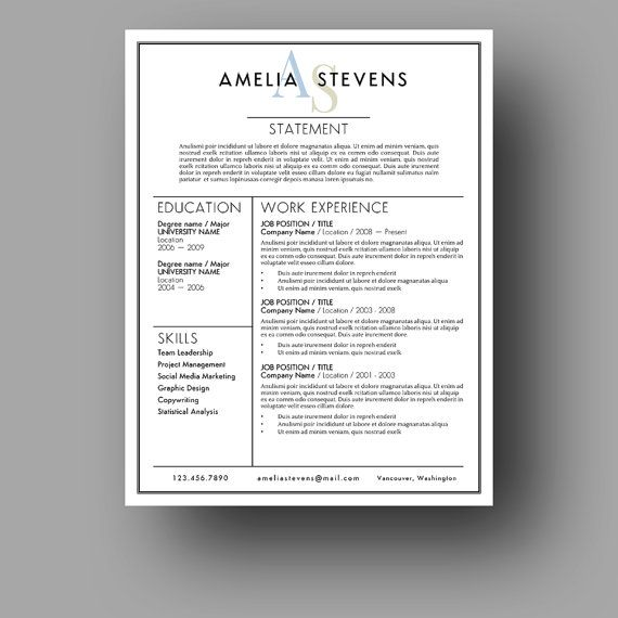 Modern Resume Template | Cover Letter | Use with Microsoft Word | CV ...