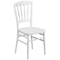 Flash Furniture HERCULES Series White Resin Stacking Napoleon Chair