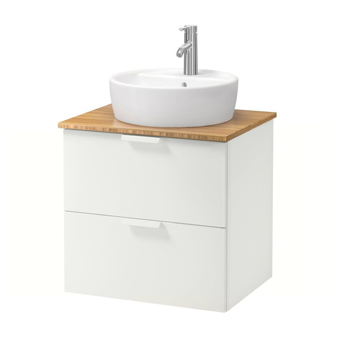 Godmorgon Tolken Tornviken Waschbschr Aufsatzwaschb 45 Weiss Bambus Ikea Lavabo Unterschrank Ikea Badezimmer Waschbeckenunterschrank