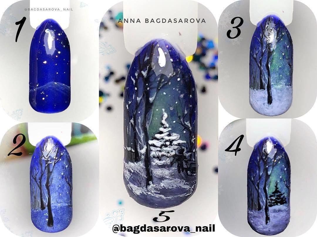 Зимние дизайны ногтей фото пошагово