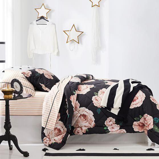 The Emily Meritt Bed Of Roses Comforter Sham Black Blush Room Decor Bedroom Rose Gold Bedroom Decor Room