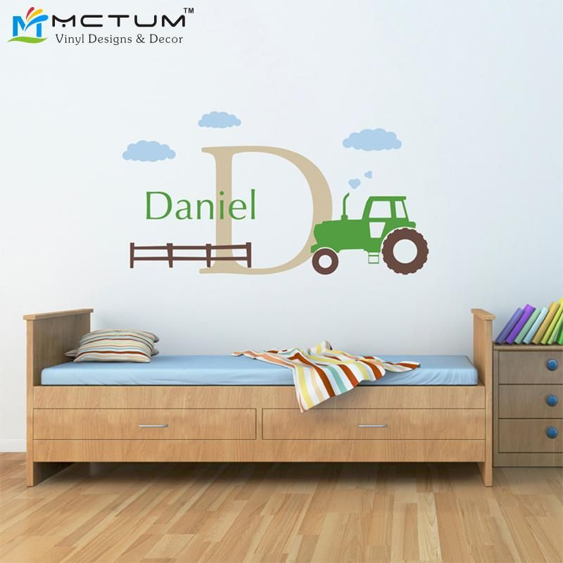 Large Tractor Wall Decal Set Boys Name And Initial Decal