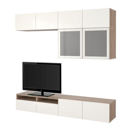 best tv opbergcombi vitrinedeuren grijs gelazuurd walnootpatroon selsviken hoogglans wit. Black Bedroom Furniture Sets. Home Design Ideas