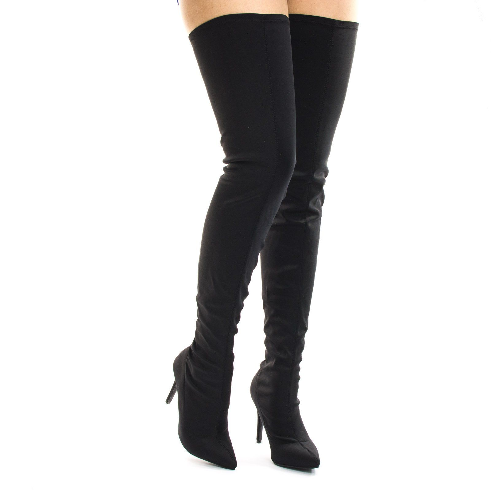 6ce789b8c34 Akira203 Black High Heel Over Knee Boots, Elastic Thigh High Pointed ...