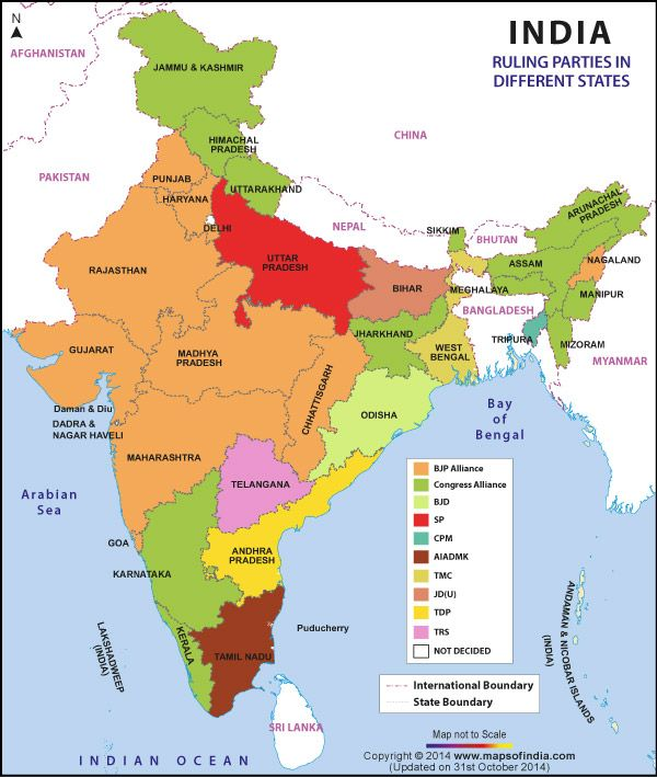 Map Of Political Parties In States Of India India Research - World map 1800s political